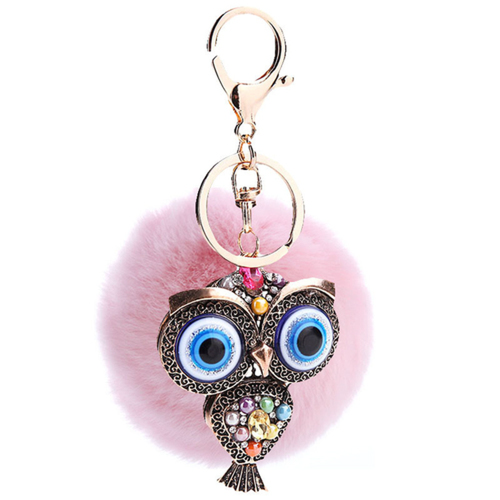 Fur and Rhinestone Owl Key Chain- Pink