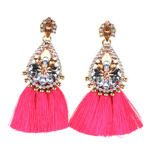 AJS Pink Tassel and Rhinestone Earrings