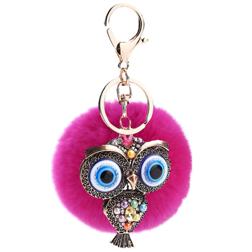 Fur and Rhinestone Owl Key Chain- Raspberry