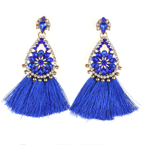 AJS Royal Blue Tassel and Rhinestone Earrings