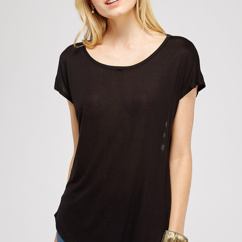 Black Top with Cut Out Heart Embellishment