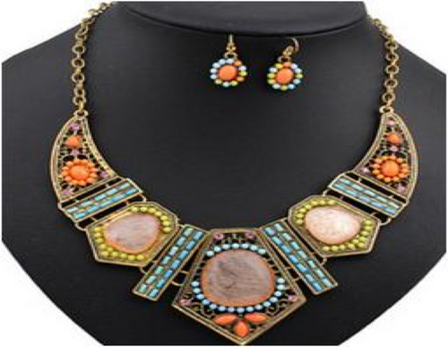 AJS Colorful Bohemia Necklace and Earring Set