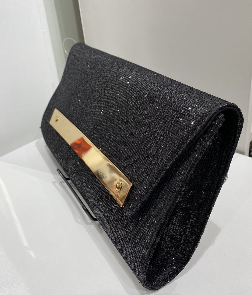 Black Sparkle Clutch Evening Bag