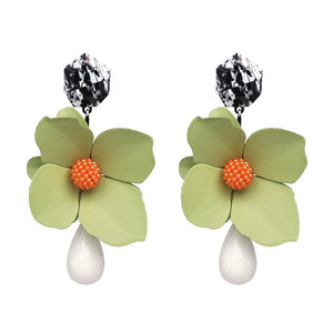 Green Flower Statement Earrings