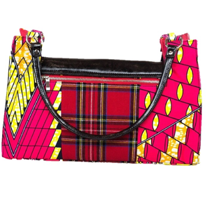 Black Leather Tartan Signature Bag