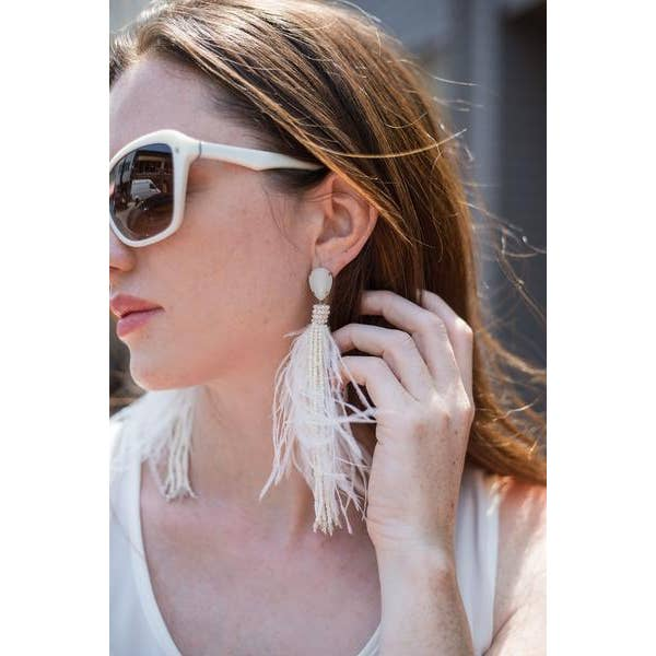 Holiday 2020 White Feather Earrings