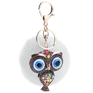 Fur and Rhinestone Owl Key Chain- White