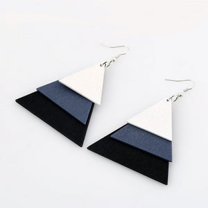 AJS Geometric Black Triangle Shaped Earrings