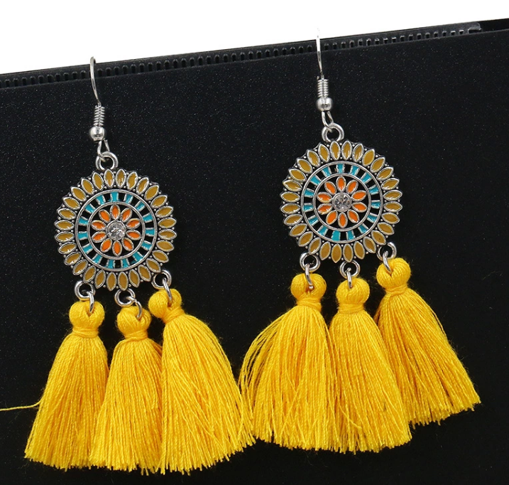 AJS Yellow Tassel Sundial Earrings