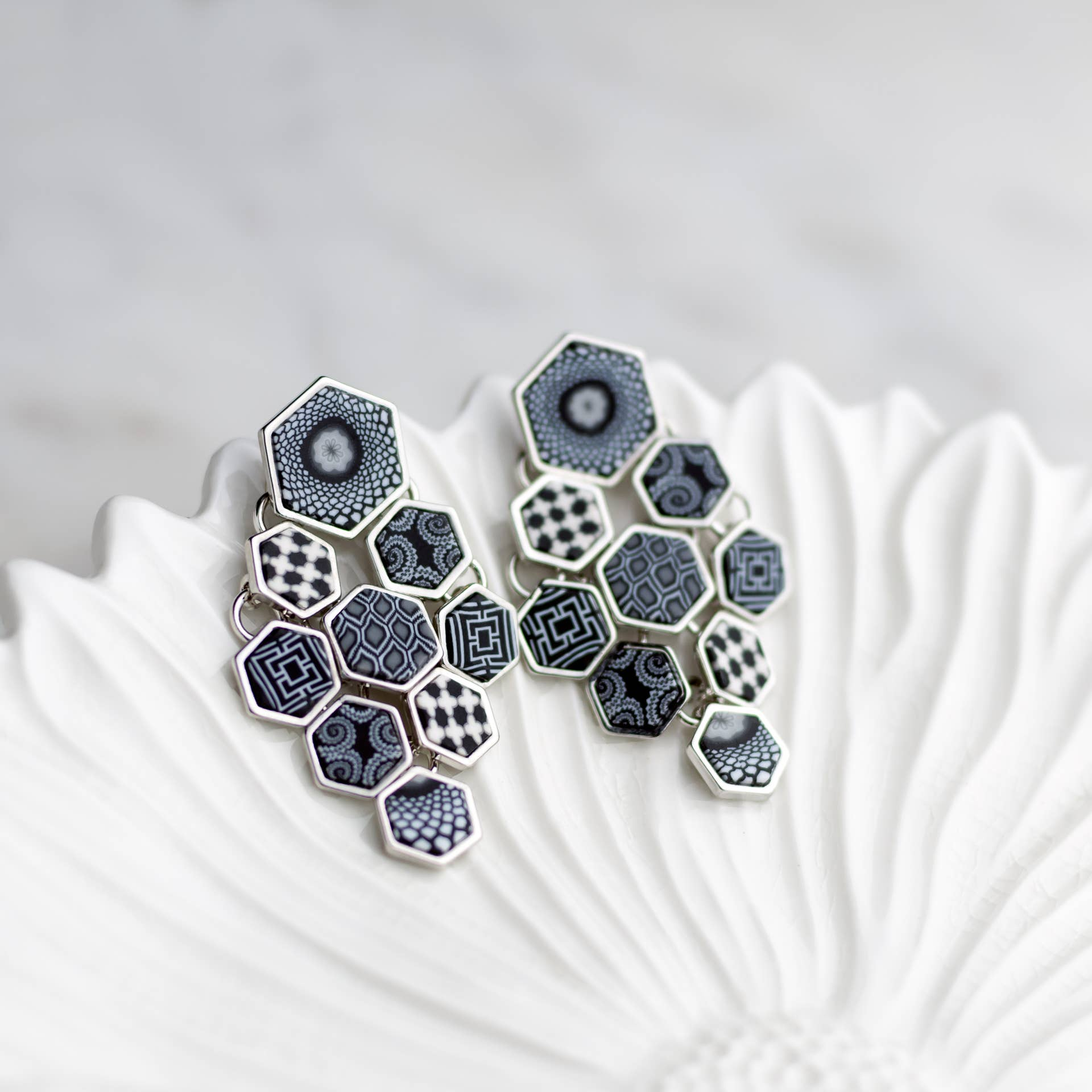 Black and White Rhodium Hexagon Chandelier Earrings