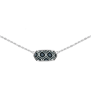 Black and White Rhodium Hexagon Necklace