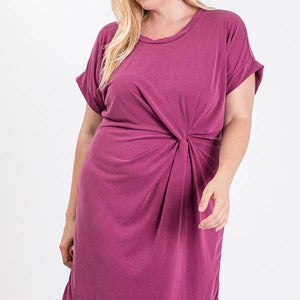 Fuschia Rouched Sheath Dress