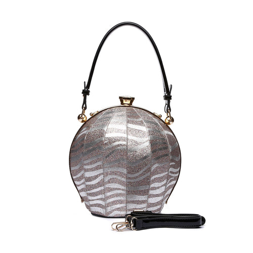 Silver Glitter Zebra Holiday Ball Bag