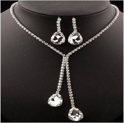 AJS Fancy Girl Rhinestone Drop Jewelry Set
