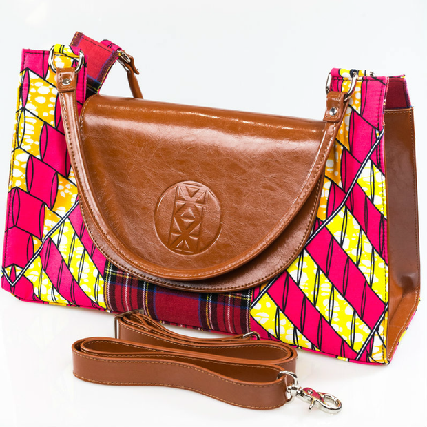 Tartan Girl Chestnut Leather Signature Bag 1