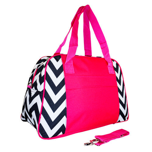 Chevron Hot Pink Overnight Bag