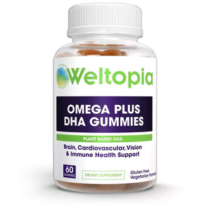 Weltopia - Premium Omega Plus DHA - 60 Gummies - Brain and Cardiovascular Support, Vision and Immune Health, Pure Plant Based Oils, Non-GMO Gummies