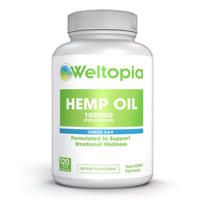 Hemp Oil 1000MG - Premium Organic Hemp Oil Capsules -  All Natural Omega 3-6-9 - Weltopia - Premium Vitamins and Supplements