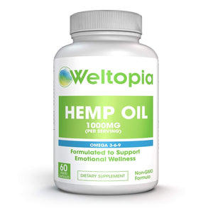 Weltopia - Hemp Oil 1000MG - Premium Organic Hemp Oil Extract Capsules - Reduce Pain, Anxiety, and Stress - All Natural Omega 3, 6, 9 - Brain Boost Supplement, Memory, Focus, Clarity - for Great Sleep