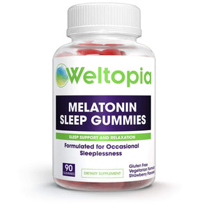 Weltopia - Premium Melatonin Sleep Gummies - Kids and Adults Sleep Aid - 5mg Per Serving - 90 Gluten Free Gummies - Strawberry Flavored - for Sleep Support and Relaxation