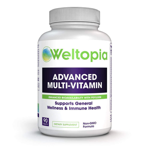 Weltopia - Adult Whole Food Multivitamin - with Enhanced Bioavailability (Prebiotics & Probiotics) - Herbs, Vitamins, Minerals and Enzymes - Non-GMO to Support Blood Health, Immune System, General we