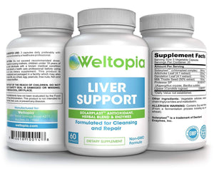 Liver Support for Cleanse, Detox & Regenerator - Milk Thistle (Silymarin) & Proteolytic Enzymes Supplement - Weltopia - Premium Vitamins and Supplements
