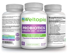 Weltopia -Shelf Stable Probiotics - 30 Billion - 10 Strains - Delayed Release & Spore Forming Strains - Includes prebiotics. 60 Days Supply