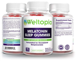 Melatonin Sleep Gummies - Kids and Adults Sleep Aid - 5mg Per Serving - 90 Gummies - Strawberry Flavored - Weltopia - Premium Vitamins and Supplements