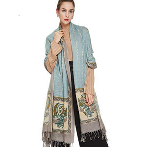 Light Blue/Print Shawl-The fashionabler