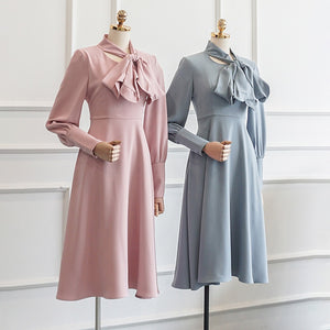 Retro Bow Collar Dress - Wide Size Range-The fashionabler