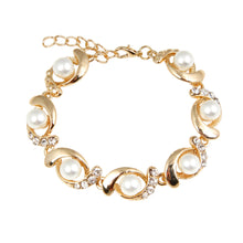 Pearl/Rhinestone Chain Bracelet-The fashionabler