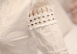 Blouse with Lace Inserts-The fashionabler