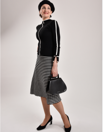 Pleated Check Knit Skirt-The fashionabler