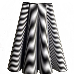 Striped A-line Midi Skirt-The fashionabler