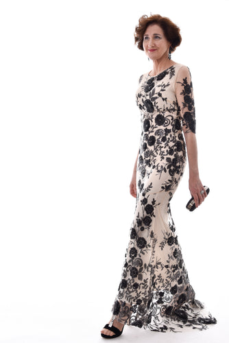 Sequined Flower Evening Gown with Mermaid Hem-The fashionabler