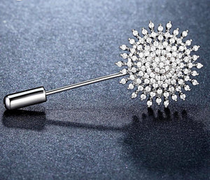 Crystal Flower Brooch-The fashionabler