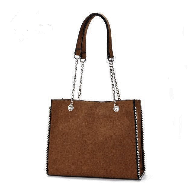 Stud-trimmed Nubuck Shoulder Bag-The fashionabler