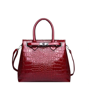 Faux Croco Patent Leather Handbag-The fashionabler