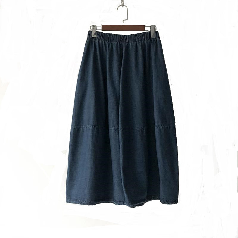 Elastic Waist Denim Skirt-The fashionabler