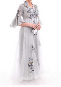 Embroidered Tulle Evening Gown - Wide Size Range-The fashionabler