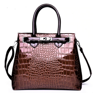 Faux Crocodile Patent Leather Handbag-The fashionabler