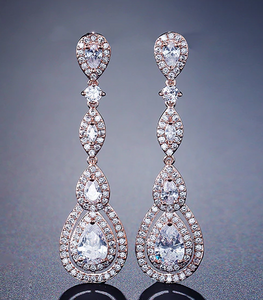 Long Crystal Drop Earrings-The fashionabler