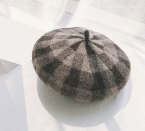 Checkered Wool Beret-The fashionabler