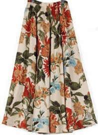 Floral Linen Midi Skirt-The fashionabler