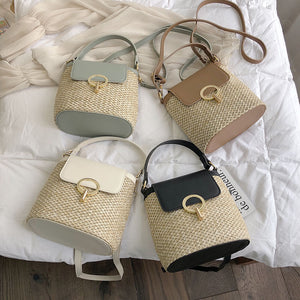Mini Straw Bucket Bag-The fashionabler