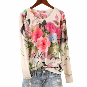 Flower Print T-Shirt - Wide Size Range-The fashionabler