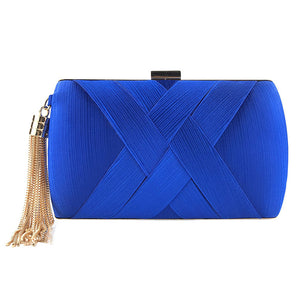 Tasseled Satin Clutch-The fashionabler