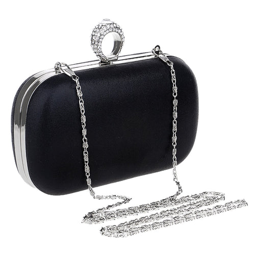 Evening Clutch with Rhinestone Ring Clasp-The fashionabler