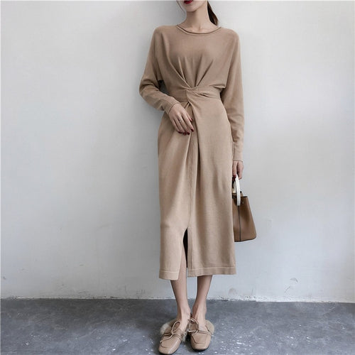 Draped Knit Midi Dress-The fashionabler