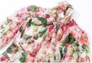 Floral Print Chiffon Dress-The fashionabler